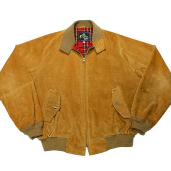 Vintage 80s Derby of San Francisco Corduroy Plaid Lined Jacket Mens Size 46 (Large)
