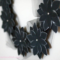 Black Halloween Decor Halloween Wreath Black Paper Flowers Morticia III