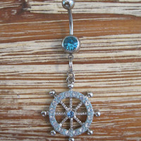 Belly Button Ring - Body Jewelry - Silver Blue Rhinestone Ships Wheel With Lt. Blue Gem Stone Belly Button Ring