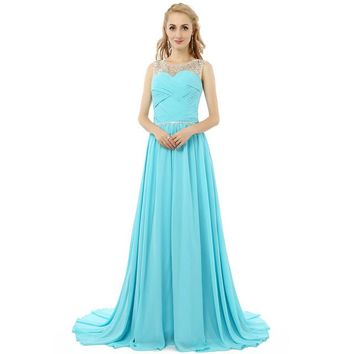 Mint Blue Long Prom Dress Formal Dresses A Line Floor Length Prom Dresses