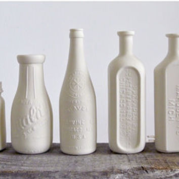 Porcelain Dairy Bottle Vase, Stamped Chicago
