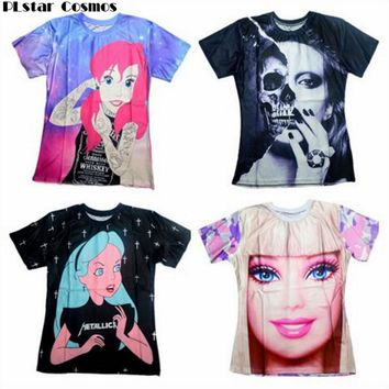 PLstar Cosmos men/women skull/Barbie girl/Alice princess Print 3d t shirt Unisex Tees Harajuku t-shirt size S-5XL Drop Shipping