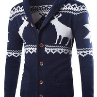 Christmas Fawn Snowflake Jacquard Button Up Cardigan - Cadetblue - L