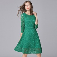 Three Quarter Lace Dress Green Spring Female Hollow Out Slim Waist One- Piece Dress