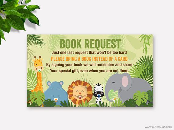 jungle baby shower book request from cute muse printable