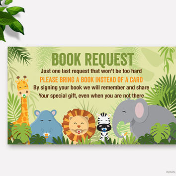 Jungle Baby Shower Book Request, Printable Baby Shower Request Book Card, Jungle Bring a Book Instead of a Card Insert, Instant Download