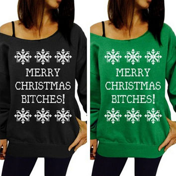 FASHION CHRISTMAS LETTERS PRINTED SWEATER