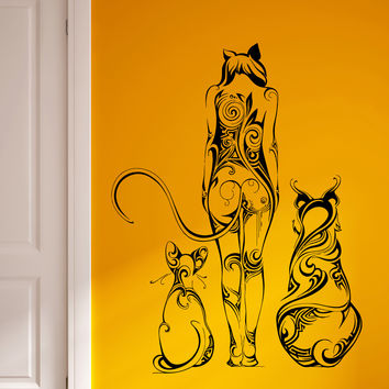 Wall Vinyl Sticker Decal Girl Cat Tail Animal Ears Pretty Wild Abstract (ed414)