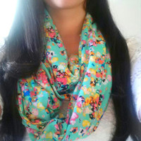 Floral Mint scarf, Infinity Soft jersey knit scarf