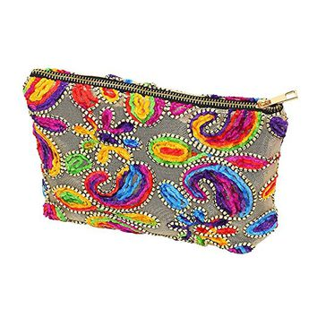 Multi Color Embroidery Floral Cosmetic Bag