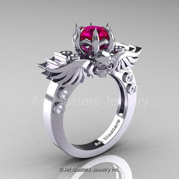 Art Masters Classic Winged Skull 14K White Gold 1.0 Ct Rose Ruby Diamond Solitaire Engagement Ring R613-14KWGDRR