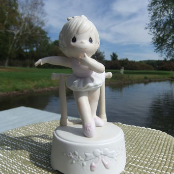 "Precious Moments Ballerina Music Box ""Lord Keep My Life In Balance"" 1990 Collectible by Samuel J. Butcher"
