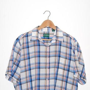 Vintage Men's Plaid Short Sleeve Button Down XL Red, White, Blue and Tan