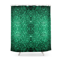 Society6 Beautiful Emerald Green Glitter Sparkles Shower Curtains