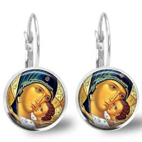 Religious Virgin Mary Earrings Theotokos  Jesus Earrings Silver Plated Leverback Religious Jewelry Gift