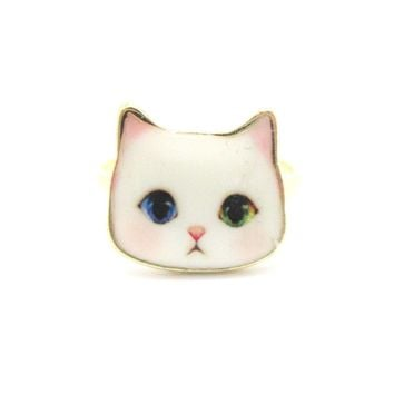 Adorable White Odd-eyed Kitty Cat Face Shaped Adjustable Ring | Animal Jewelry