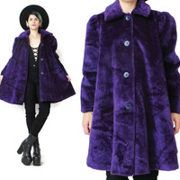 Purple Faux Fur Coat 1990s Faux Fur Jacket Plush Faux Fur Winter Coat Fake Fur Womens Winter Swing Jacket Button Up Club Kid Outerwear (M)