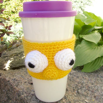 Coffee Cozy Funny Face, Coffee Sleeve, Crochet Can Koozie , Java Jacket, Travel Drink Cup Holder, Yellow Face