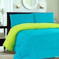Down Alternative Reversible Comforter Turquoise/Lime - Queen