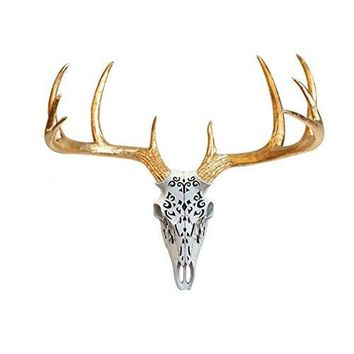 Large Carved Deer Head Skull | Faux Taxidermy | White + Gold Antlers Resin