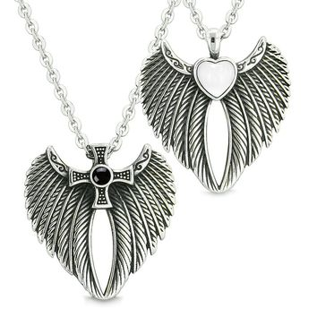 Angel Wings Heart and Cross Love Couple or Best Friends Simulated Onyx White Simulated Cats Eye Necklaces