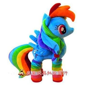 40cm Rainbow Dash Plush Toy Cartoon Pets Plush Rainbow Horse Unicorn Toys Stuffed Animal Doll