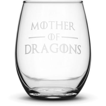 Premium Wine Glass, Game of Thrones, Mother of Dragons, 15oz