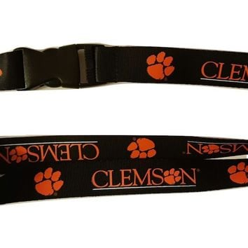 Clemson Tigers Black Team Lanyard with Keychain Clip