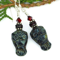 Black and Red Goth Owl Earrings, Czech Glass Swarovski Crystals Handmade Dangle Jewelry