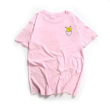 Women T Shirt Summer 2018  T-Shirt Tees O-Neck Lovely Pikachu Tee Tops Pocket Monster Rip And Dip Doge Funny T-ShirtsKawaii Pokemon go  AT_89_9