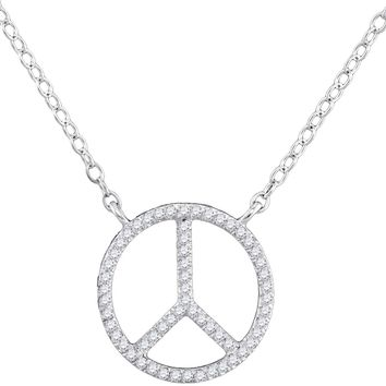 10kt White Gold Womens Round Diamond Peace Sign Circle Pendant Necklace 1/6 Cttw