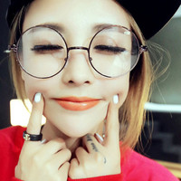 Men/women Round Sunglasses Retro Metal Frame Eyeglasses Korean Glasses Optical Circle Plain Mirror