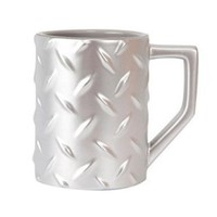 Silver Diamond Plate Construction Mug Coffee Cup, Mr. Fix It DIY Man Gift