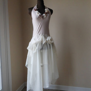 Wedding Dress Ballet Blush Pink Halter Formal Alternative Wedding Gown Faerie Pixie Shabby Tattered Cottage