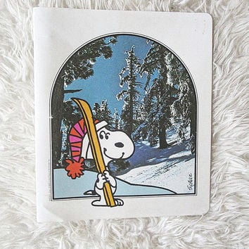 Vintage SNOOPY Skiing PEANUTS Collection 3 Ring Binder Trapper Keeper Folder