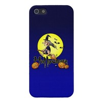 Halloween, witch on a broom, bats and pumpkins iPhone 5 case