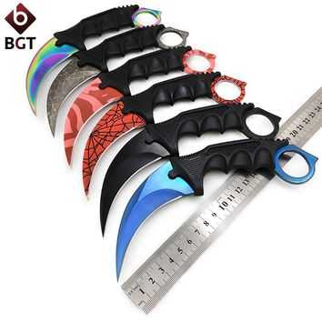 Hunting Fixed Knife Karambit Tactical Combat Survival Neck Claw Knives Utility Camping Outdoor Pocket Rescue EDC Tools