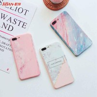 360 Full Protect Marble Stone Pattern Mobile Phone Case for iphone 6 6s 6plus 7 7plus 8 8plus Cover Glass Screen Protector