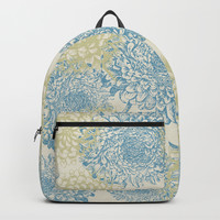 blue and green flowers Backpack by sylviacookphotography