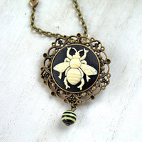 Bee cameo necklace black ivory insect bug