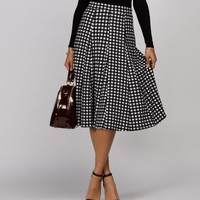 Black Gingham Plaid Midi Skirt