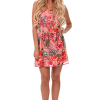 Peach Flowing Dress with Colorful Floral Print
