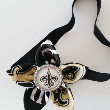 New Orleans Saints Headband, Football Headband, NFL Hair Accessory, Toddler and Newborn Headband, Saints Hair Flower, Saints Baby