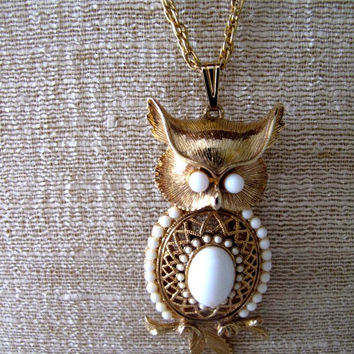 Vintage Owl Pendant Necklace with White Milk Glass Stones