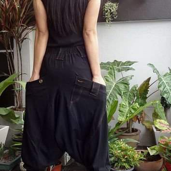 FREE GIFT..Black - Harem Pants, High Fashion Gaucho, Drop Crotch  Unisex Trousers , in Cotton Jersey.