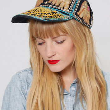 Vintage SEQUIN Indian Hat  Embroidered ELEPHANT Velvet Hat Hippie Ethnic Baseball Cap