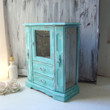 Teal Beach Chic Jewelry Box, Aqua and White Distressed Jewelry Holder, Shabby Chic Jewelry Box, Cottage Chic, Necklace Holder, Gift Ideas
