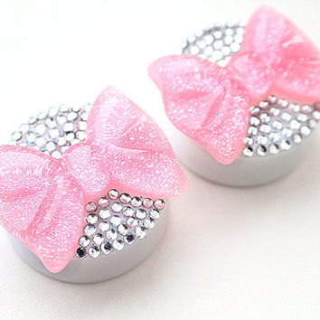 "30mm 1-3/16"" Glitter Pink Bow Shiny Gem Rhinestone Ear Plugs / Gauges PAIR"