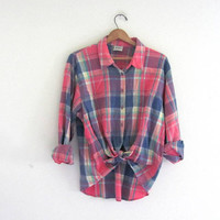 vintage pastel shirt // button up camp shirt // womens plaid top
