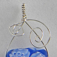 German Silver Wire Pendant, Royal Blue Glass Bead with White Flowers